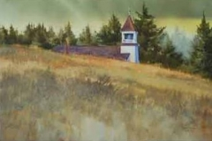 CHURCH ON THE HILL - 22 X 29 - WATERCOLOR - $300