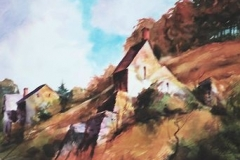 FRANCE, HILLSIDE HOMES - 22 X 29 - WATERCOLOR - $400