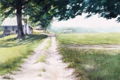A SOUTHERN FARMSTEAD - 29 X 36 - WATERCOLOR - $500