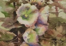 HOLLYHOCKS #2 - 29 X 22 - WATERCOLOR - $400
