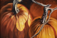 TWO PUMPKINS - 10 X 14 - OIL - $300