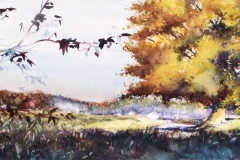FALL PANORAMA - 12 X 22 - WATERCOLOR - $300.
