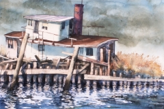 DERELICT HOUSEBOAT - 22 X 29 - WATERCOLOR - $350