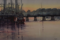 MORNING HARBOR VIEW - 22 X 29 - WATERCOLOR - $400