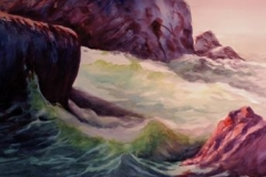 SURF AND ROCKS - 29 X 36 - WATERCOLOR - $600