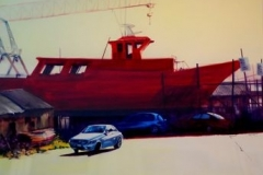 THE RED BOAT - 22 X 29 - WATERCOLOR - $500