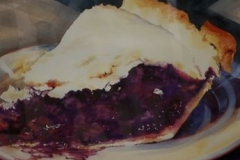 BLUEBERRY PIE - 29 X 36 - WATERCOLOR - $800