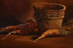 CARROTS AND POT - 9 X 12 - OIL - $400