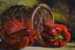 PEPPERS AND BASKET - 12 X 16 - OIL - $400