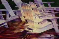 SUMMER CHAIRS - 29 X 36 - WATERCOLOR - $700
