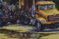 BIG TRUCKS - 18 X 22 - WATERCOLOR - $200