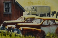 OLD CARS - 22 X 29 - WATERCOLOR - $300