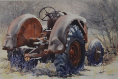 THE OLD TRACTOR - 29 X 36 - WATERCOLOR - $600